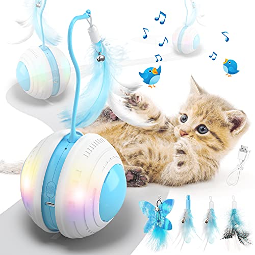 Biilaflor Interactive Cat Ball Toys with Bird Sound, Led Light, Detachable Protective Rubber Shell, USB Charging, Automatic 360° Rolling, 2 Feathers & Bell, Robotic Cat Moving Toys for Indoor Cats