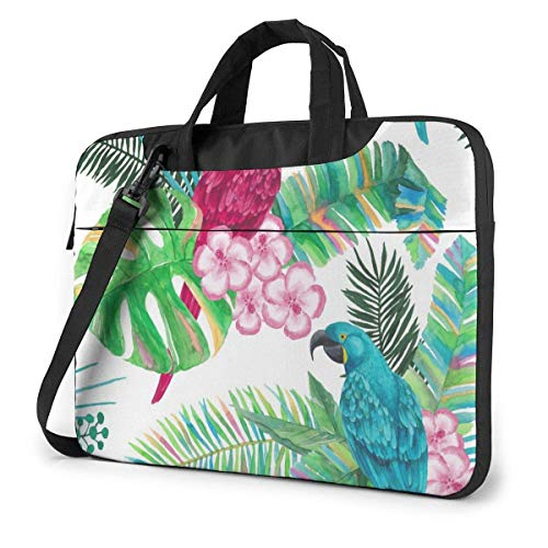 Parrot and Plant Laptop Sleeve Case 14 Inch Computer Tote Bag Shoulder Messenger Briefcase for Business Travel