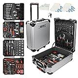 ECD Germany Alu Werkzeugkoffer 949 teilig Qualitätswerkzeug, Silber, Chrom-Vanadium Stahl, 4 Ebenen, mit Rollen, Werkzeugkasten Werkzeugkiste Werkzeugtasche Werkzeugbox Werkzeug-Set Werkzeug Trolley