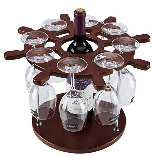 BXU-BG Botellero de madera con forma de timón para botellas (color: marrón)
