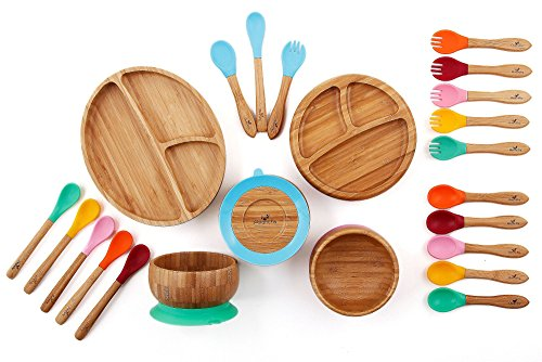 Avanchy Mix & Match Organic - Bamboo Baby Gift Set. Bamboo Baby Bowl + Bamboo Baby Divided Plate + 5 Assorted Spoons Set. Great for Baby Boy, Baby Girl, Unisex (Green Bowl/Pink Plate)