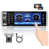 Single Din Touchscreen Radio 1Din Bluetooth Car Stereo 5.1 Inch FM RDS AM Tuner with Rear Microphone Input USB SD AUX Input Port + Rear View Camera & Steering Wheel Controller