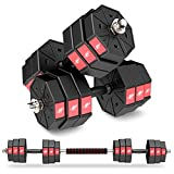 LEADNOVO Weights Dumbbell Barbell Set, 44Lbs/20KG 3 in 1 Adjustable Weights Dumbbells Set, Home Fitness Weight Set Gym Workout Exercise Training with Connecting Rod for Men Women