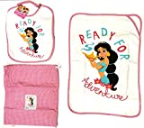 D.P. Juego para guardería de 3 piezas, babero, toalla, bolsa de princesa, Jasmine Aladino, niña