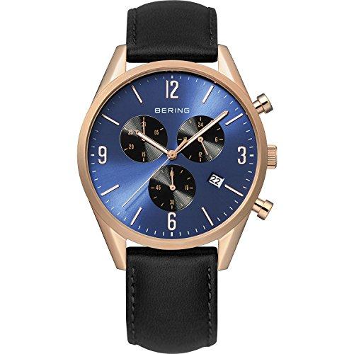 BERING Herren-Armbanduhr Analog Quarz Leder 10542-567