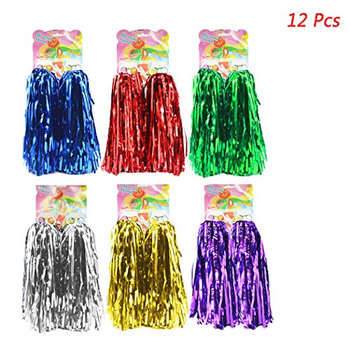 hatisan 12 Pack Cheerleading Pom Poms, Cheerleader Pompoms Metallic Foil Pom Poms for Sports Team Spirit Cheering Party Dance Useful Accessories (6 Colors)