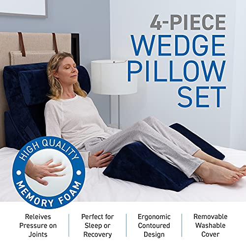 Bed Wedge Pillow - 4 Piece Advanced Adjustable Orthopedic Pillow Set with Memory Foam - System for Legs and Back Support | Acid Reflux, Anti Snoring, Heartburn Machine Washable Cover, Navy