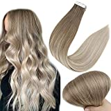 Full Shine Tape In Colored Hair Extensions 18 Inch Color 8 Light Brown Fading To 60 and 18 Ash Blonde 20 Pieces Tape In Extensions Remy Human Hair Invisible Tape Ins 50 Grams Per Pack