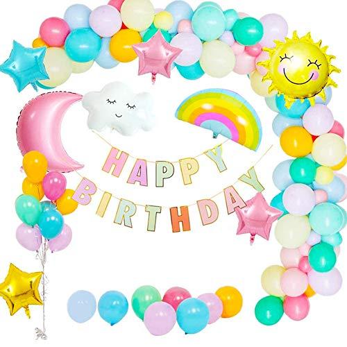 BESLIME 50Pcs Mädchen Geburtstag Dekoration Ballon, Sonne Mond Wolken Regenbogen Ballon, Geburtstagsdeko Luftballons Himmel Thema, Party Dekoration