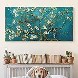 Pinturas en lienzo de flor de almendro de Van Gogh, carteles e impresiones artísticos impresionistas, imágenes artísticas de flores de Van Gogh para la sala de estar 60x120 CM (sin marco)