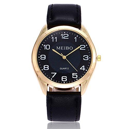 Armbanduhr Damen Ronamick MEIBO Damen Casual Quarz Lederband Newv Armbanduhr Analoge Armbanduhr Armband Armbanduhr Uhr Uhren(BK)