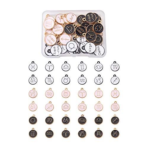 Abalorios esmaltados con signo del zodiaco, Beadthoven 36 piezas de doble cara doce constelaciones esmaltadas de carne para collares y pulseras