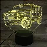 Lámpara 3D Jeep Vehículo todoterreno Base brillante Cambio de color de la atmósfera Sin regalo de Navidad Lámpara de luz nocturna LED