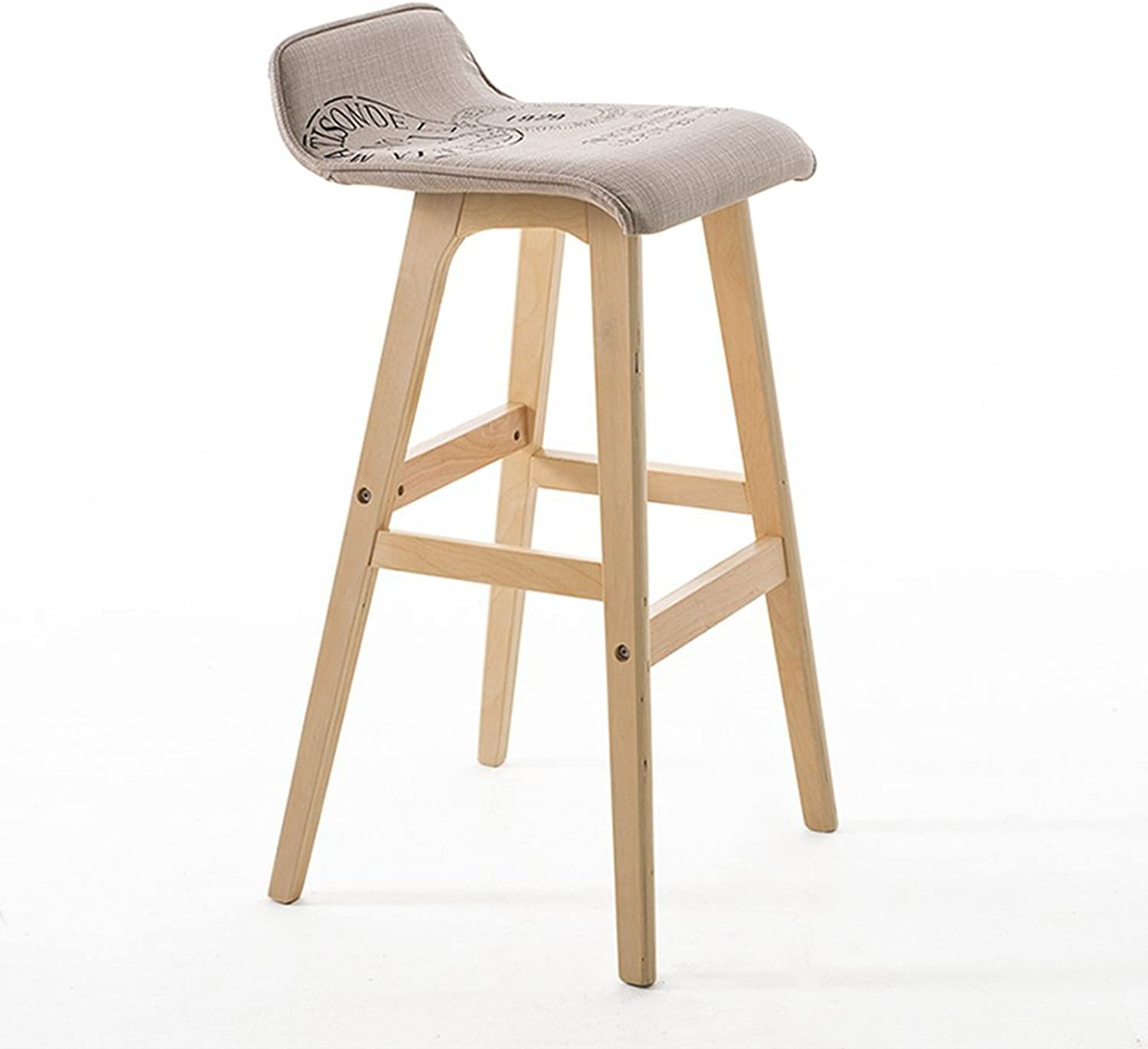 ZHIRONG Bar Stool Fashion Solid Wood Frame Cloth Seat Kitchen Breakfast Chair (color   B, Size   74cm)