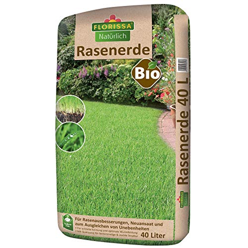 Florissa Natürlich 58570 Bio Rasenerde (40 l) | torffrei | für eine gute Verwurzelung des Rasens in der Erde, Braun