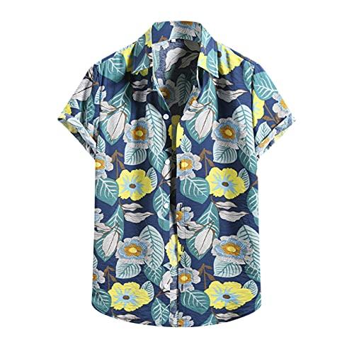Camisa hawaiana para hombre, de verano, informal, con flores, manga corta, cuello en V, para el tiempo libre M_azul L
