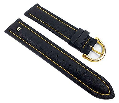 Maurice Lacroix Ersatzband Uhrarmband Leder Band Tiago Waterproof schwarz/Gelb 20mm 21937G