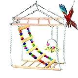 Juguetes de Loro Pájaro Colorful Columpio para Loros Accesorios, Juguete Colgante para Mascotas con Campanas, Juguetes para Pájaro para Loro escalera, Juguete para pequeños y medianos loros de aves