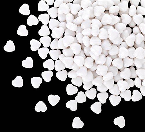 Kleenes Traumhandel 100 weiße Acryl Herzen mit 12 mm Durchmesser - Dekosteine Tischdekoration für Hochzeit und Verlobung - Ideale Streudeko