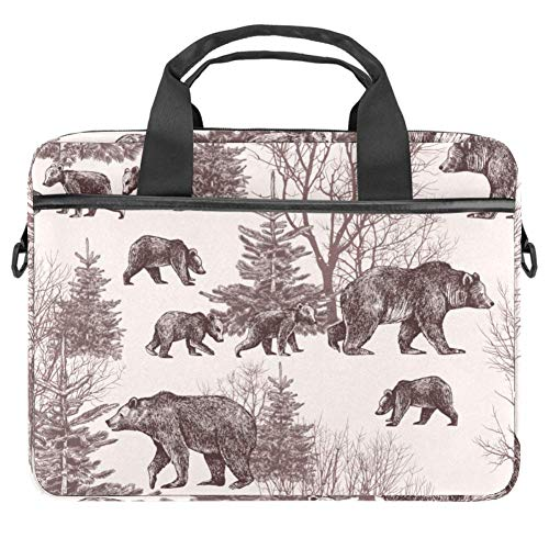 Bears Cubs Winter Trees and Fir Trees Laptop Case Canvas Pattern Briefcase Sleeve Laptop Shoulder Messenger Bag Case Sleeve for 13.4-14.5 inch Apple MacBook Laptop Briefcase