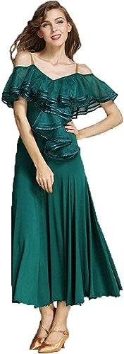 ZTXY Danse Justaucorps Adulte Sexy Robe De Danse Nouveau Style Lyrique Ballet Dames Dos Nu Maxi Longueur Costume De Danse Latine Camisole Col en V Tango Rumba