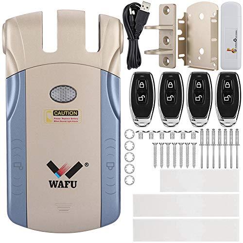 Cerradura electrónica invisible, cerradura de puerta de control remoto estable, aleación de zinc invisible inalámbrica para(Gold+USB Bluetooth adapter)