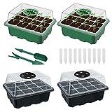 4 Piezas Bandeja Semillas, Bandejas Germinación, Bandejas Cultivo Invernadero, Mini Invernadero, con 2 Mini Palas y 10 Etiquetas Blancas, para Germinación y Crecimiento de Semillas (Negro, Verde)