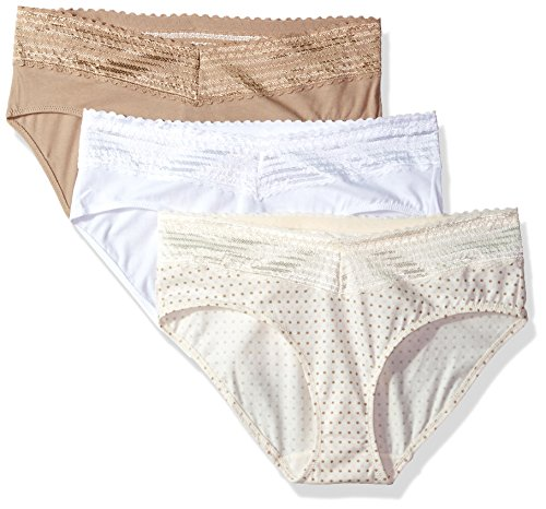 Warner's Women's Blissful Benefits No Muffin Top 3 Pack Hipster Panties, White/Toasted Almond/Body Tone Polka dot Print, L