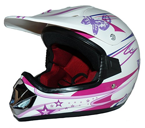 Protectwear Niños Casco Cross MaX Racing rosa brillante V310-Chica Tamaño 3XS (juventud S) 49/50 cm