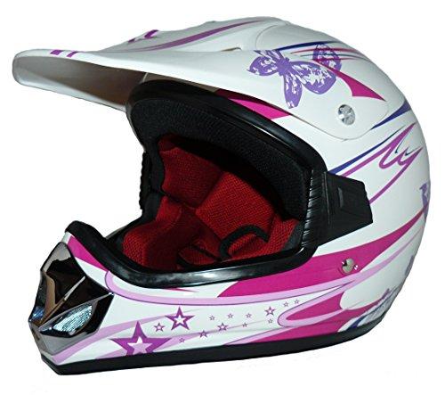 Protectwear V310-Girl-XS Kindercrosshelm für Mädchen Max Racing, Größe XS (Youth L), Rosa/Weiß Glanz