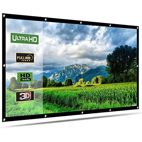Beamer Leinwand, LATIT 4K 3D HD 16: 9 100 Zoll Keine Falte Projektion Leinwand- Zusammenfaltbare Projektionswand Unterstützung Projektion für Heimkino und Freiluftkino