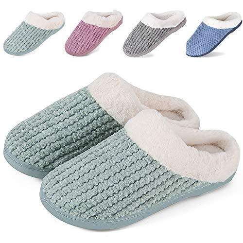 IceUnicorn Winter Hausschuhe Damen Memory Foam Plüsch Wärme Home rutschfeste Slippers wollähnliche für Drinnen und Draußen(Grün, 38/39EU)