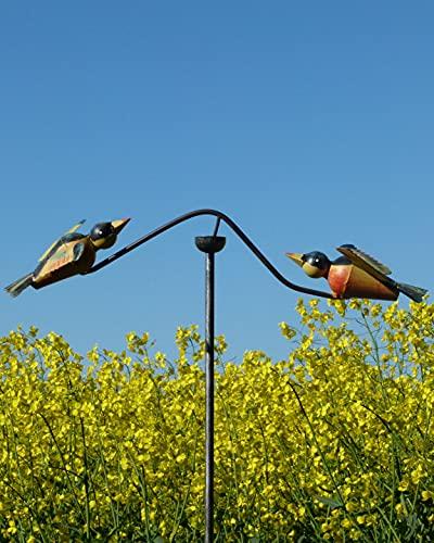 Pommerntraum   Windspiel Gartenpendel Gartenstecker Gartendekoration Garten Kunst - verliebte Vögelchen - Windspiel Vögel (Bunte Vögel)