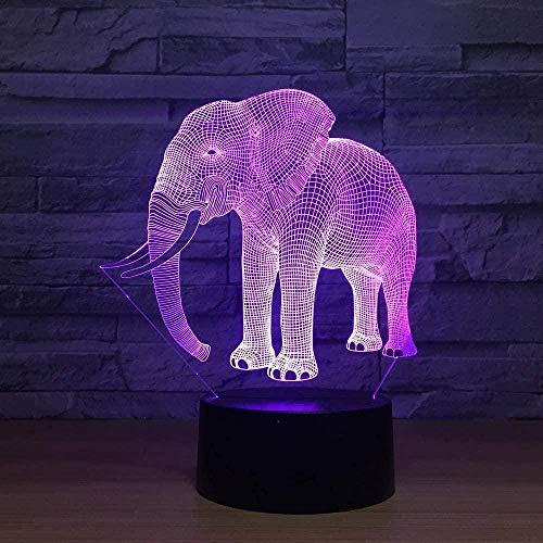 FUTYE Lámpara de ilusión 3D Luz de la noche Led Hall Pequeño Elefante Junta Enchufe Accesorios Inteligentes Luz Colorida USB Regalos Decoración Niños Decoración Hogar Sala