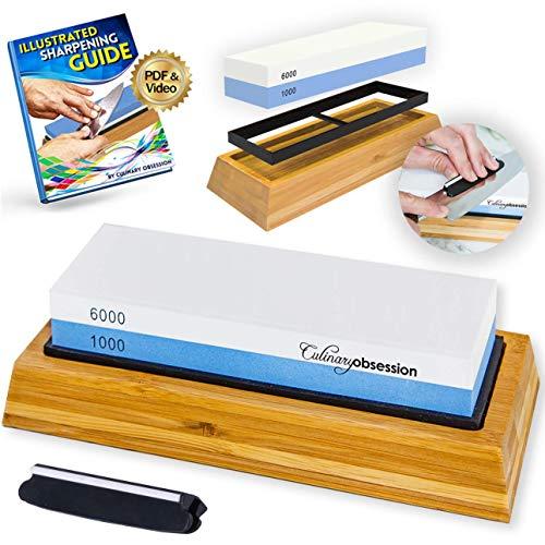 Whetstone Knife Sharpening Stone: 2-Sided Knife Sharpener Set, 1000/6000 Grits, with Non-Slip Base, Angle Guide, Illustrated PDF & Video Instructions - (Arkansas Honing Stone/Japanese Waterstone)