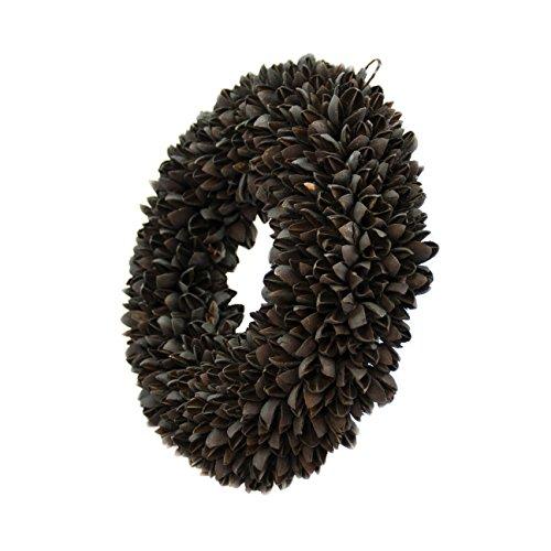 Naturkranz Deko Ø40cm in schwarz, gefertigt aus Bakuli-Früchten | Türkranz ganzjährig zum hängen oder als Tischdekoration im Shabby chic Design | Zeitloses Wohnaccessoir als Landhaus Natur-Deko