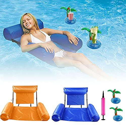 Faffooz Respaldo de Fila Flotante Inflable, Fila Flotante con Respaldo Plegable de Doble propósito Cama Durable Flotante del Respaldo Utilizado para Jugar en el Parque acuático(Azul + Naranja)