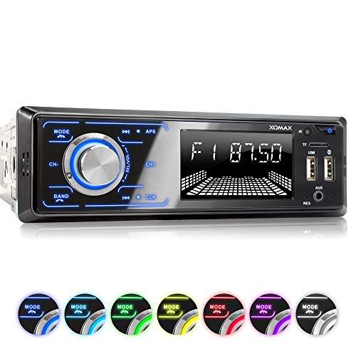 XOMAX XM-R274 Autoradio mit Bluetooth Freisprecheinrichtung, FM, 7 Beleuchtungsfarben, Smartphone Ladestation über 2. USB-Anschluss, USB, SD, MP3, AUX-IN, 1 DIN