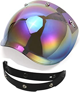 1STorm Universal 3 Snap Button Flip Up Visor Tinted Bubble Shield Lens for Retro Vintage Open Face Motorcycle Helmet