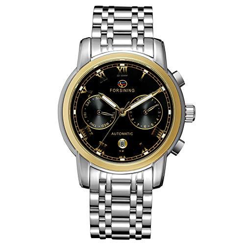 GJHBFUK Reloj de Hombre Moda Empresarial Analógico Analógico Movimiento Mecánico Reloj Oro Dial Negro