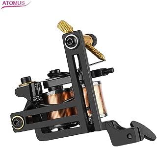 ATOMUS Coil Tattoo Machine 12 Wraps Coil Tattoo Shader Black Iron Frame Handmade Copper Coil Tattoo Gun for Shading
