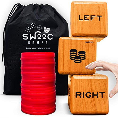SWOOC Games - Giant Right Center Left Dice Game (All Weather) with 24 Large Chips & Carry Bag - Jumbo Wooden Lawn Game - Big Backyard Game for Family - Indoor / Outdoor