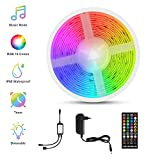 Tiras LED Música, Fansteck LED Strip RGB 5050, Luces Led Multicolor 5M con 150 Leds 12V, 40 Botones Control Remoto, Impermeable...