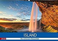 Island - Die schoensten Wasserfaelle (Wandkalender 2022 DIN A2 quer): Eine Insel voller Naturwunder (Monatskalender, 14 Seiten )