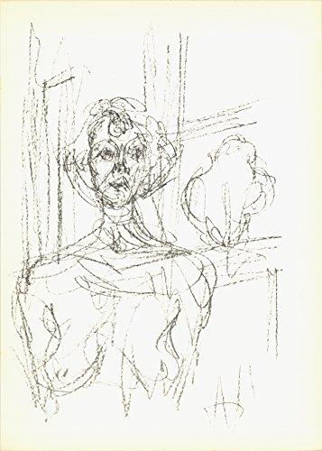"""Alberto GIACOMETTI Annette (Lg) 11.5"""" x 8.25"""" Lithograph 1964 Modernism Brown"""