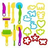 popchilli Dough Tools, Kids Dough Tool Kit Set of 20 Pcs Playdough Tool Set Play Dough Molds and...