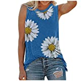 Womens Sunflower Print Floral Tops Short Sleeve V Neck Tee T Shirt Printed Side Split Tunic