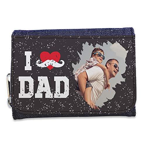 LolaPix Cartera Hombre con Foto Personalizada. Regalos Personalizados Dia del Padre. Tejido en Cartera Símil Piel. Happy Dad