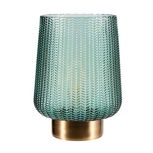 Pauleen 48136 luminaria de sobremesa portátil Pretty Glamour, lámpara, Cable y con Pilas, Temporizador de 6 h, Vidrio/Metal, 0.8 W, Latón, Turquesa