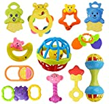 Early Educational Toy: When Infants are just beginning to grasp things on purpose,shaking, pulling, roating or on to teething this rattles and teethers set is a perfect toy. 100% Safety : This rattle is made of BPA Free ABS plastic of non-toxic eco-f...